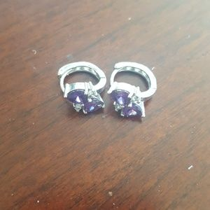 Jewelry - 3/$13 Amethyst silver hoop earrings